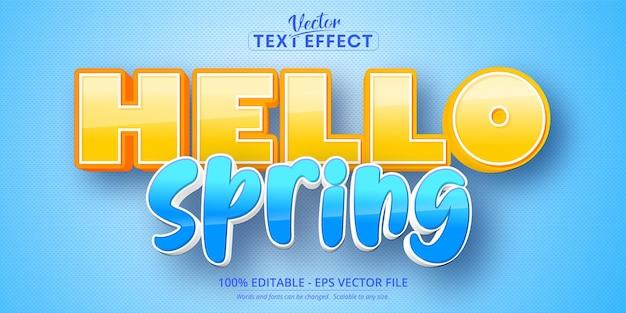 Olá, texto de primavera, efeito de texto editável estilo desenho animado