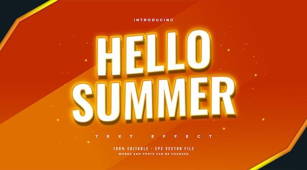 Olá, texto de verão com efeito de néon laranja brilhante. efeito de texto editável