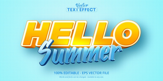 Olá, texto de verão, efeito de texto editável estilo desenho animado