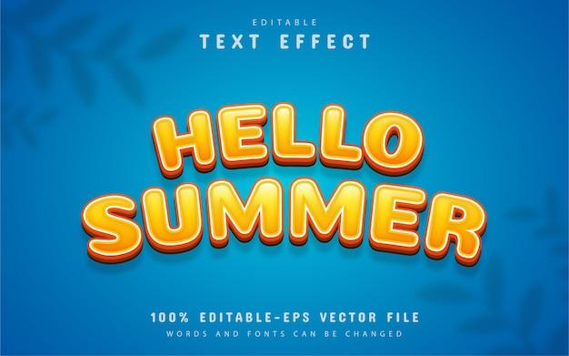 Olá, texto de verão, efeito de texto editável no estilo desenho animado