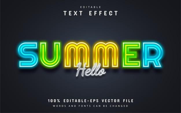 Olá, texto de verão, efeito de texto estilo neon