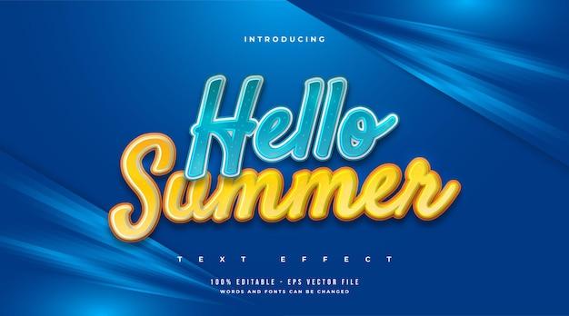 Olá texto de verão em azul e amarelo com estilo cartoon. efeito de texto editável