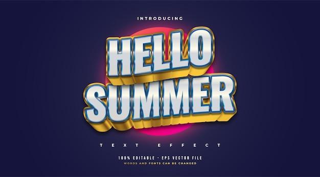Olá texto de verão em azul e dourado com efeito 3d em relevo e ondulado. efeito de estilo de texto editável