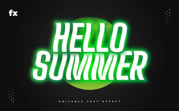 Olá texto de verão em branco e verde com efeito de néon brilhante. efeito de estilo de texto editável