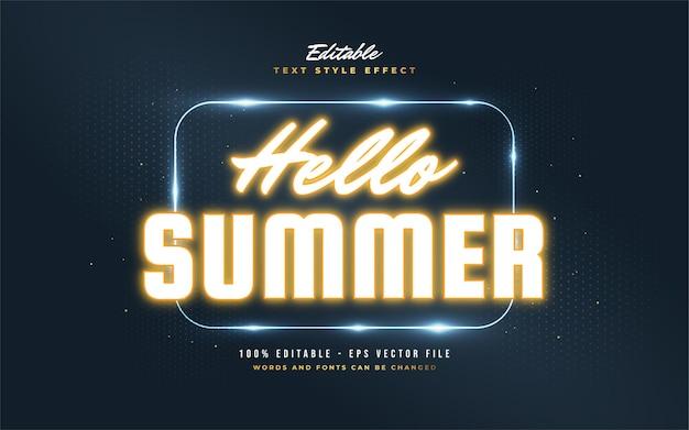 Olá, texto de verão em efeito de néon laranja brilhante. efeito de estilo de texto editável
