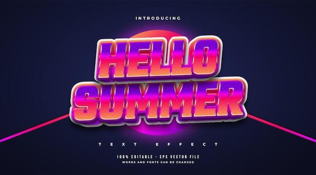 Olá, texto de verão em estilo retro colorido com efeito brilhante. efeito de texto editável