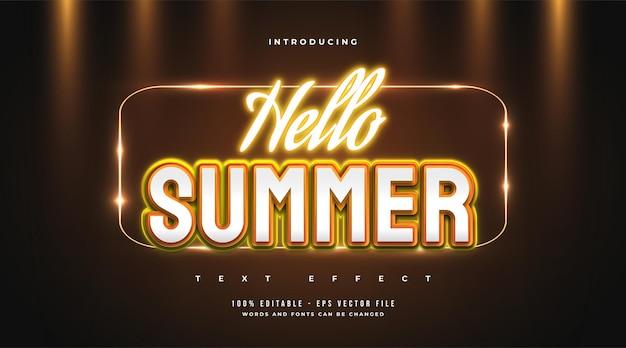 Olá, texto de verão em estilo retro e efeito de néon laranja brilhante. efeito de estilo de texto editável