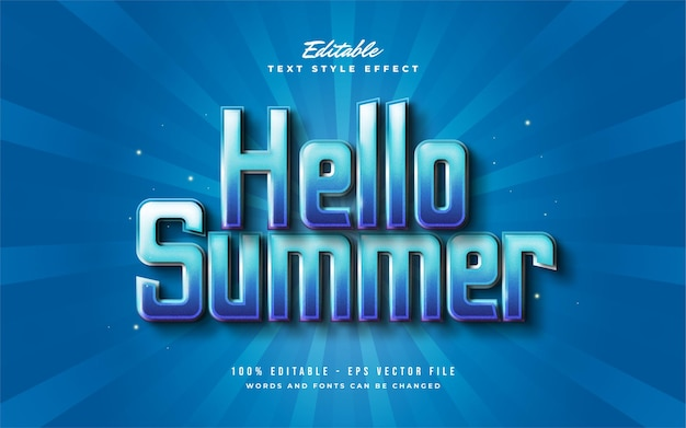 Olá, texto de verão em gradiente azul com efeito em relevo 3d. efeito de estilo de texto editável