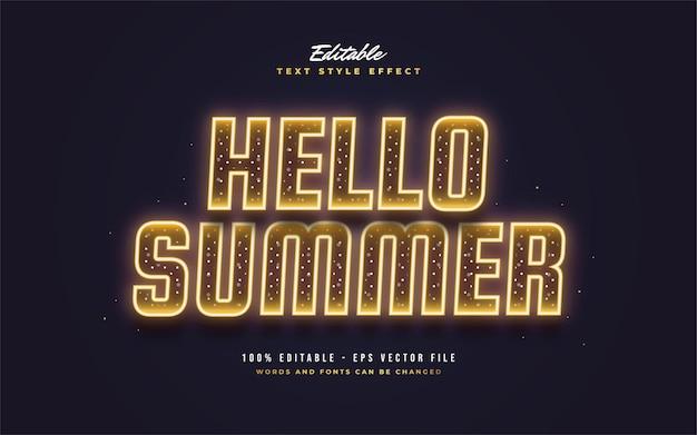 Olá, texto de verão em laranja neon com efeito cintilante. efeito de estilo de texto editável