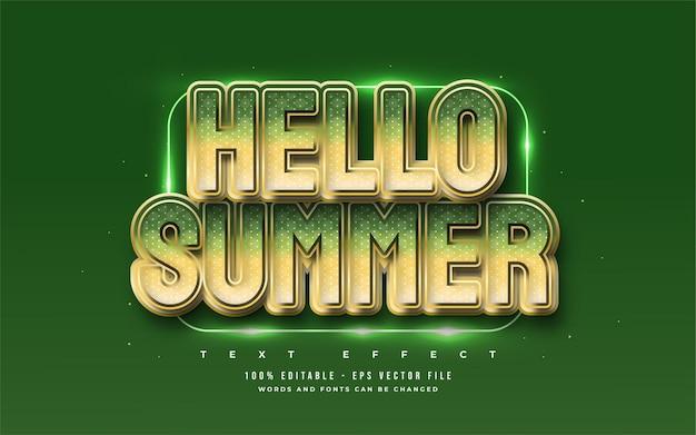Olá texto de verão em negrito verde com efeito em relevo. efeito de estilo de texto editável