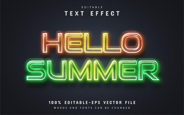 Olá, texto de verão, estilo de néon de efeito de texto editável