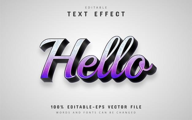 Olá, texto, efeito de gradiente roxo