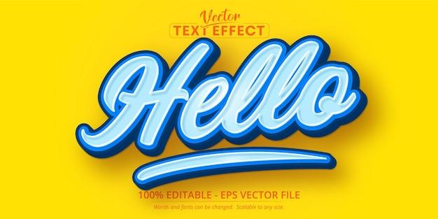 Olá, texto, efeito de texto editável no estilo desenho animado