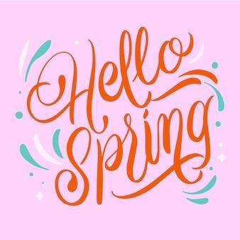 Olá tipografia de primavera com decoração colorida