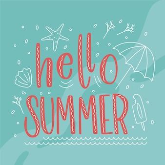 Olá tipografia de verão com estrela do mar