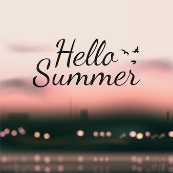 Olá turva verão e cidade