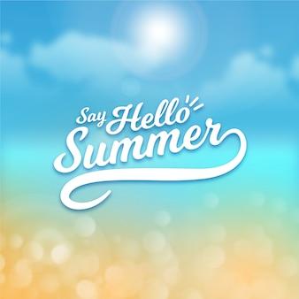 Olá turva verão e sol