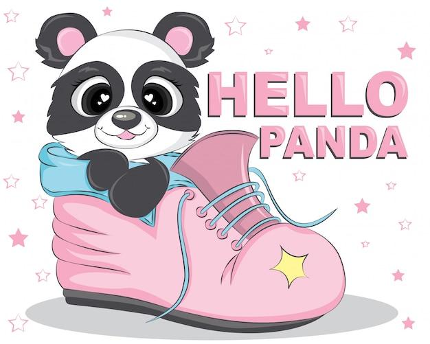 Olá urso panda nos sapatos rosa