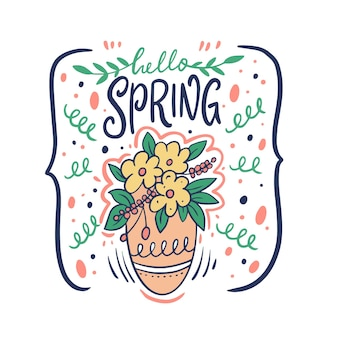 Olá, vaso de primavera e flores. desenho de doodle desenhado à mão