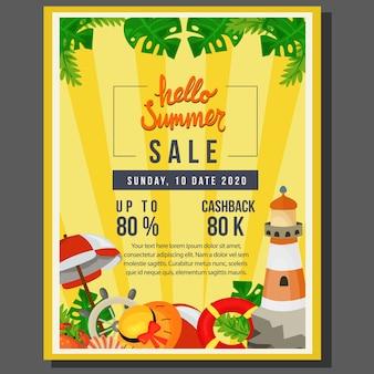 Olá venda de cartaz de verão com ilustração em vetor tema marinho