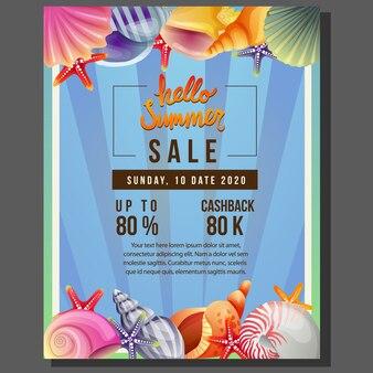 Olá venda de modelo de cartaz de verão com ilustração em vetor fronteira concha do mar