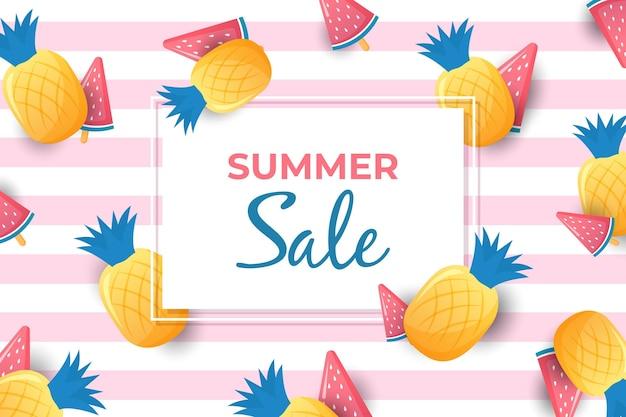 Olá venda de verão com abacaxi