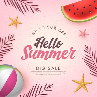 Olá venda de verão com bola de melancia e praia