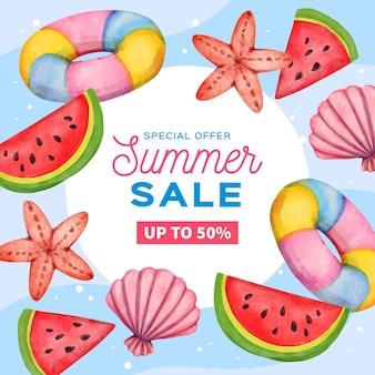 Olá venda de verão com conchas do mar e melancia