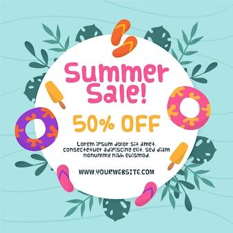 Olá venda de verão com folhas e chinelos