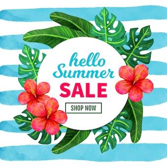 Olá venda de verão com folhas e flores