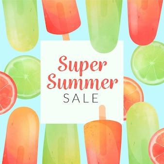 Olá venda de verão com limão e picolés