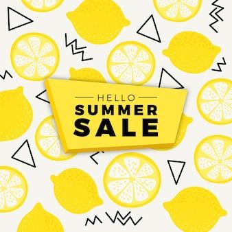 Olá venda de verão com limões