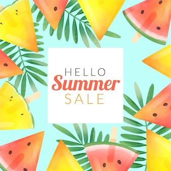Olá venda de verão com melancia