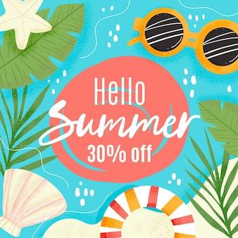 Olá venda de verão com óculos de sol