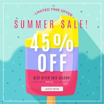 Olá venda de verão com picolé
