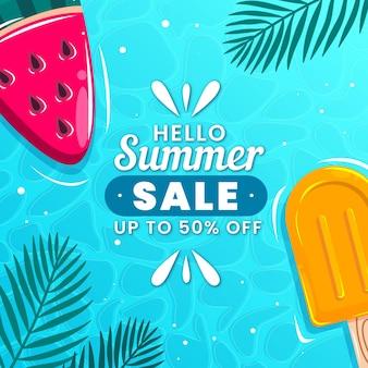 Olá venda de verão com picolés