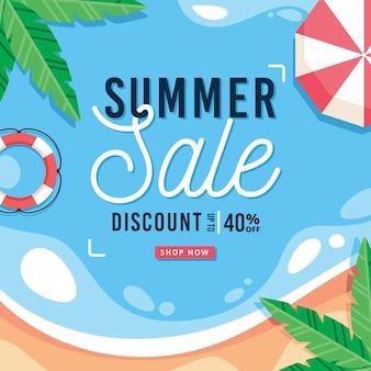 Olá venda de verão com praia e guarda-chuva