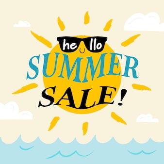 Olá venda de verão com sol de óculos