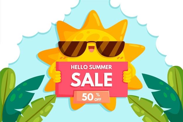 Olá venda de verão com sol e folhas