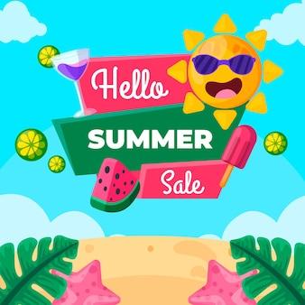 Olá venda de verão com sol e praia