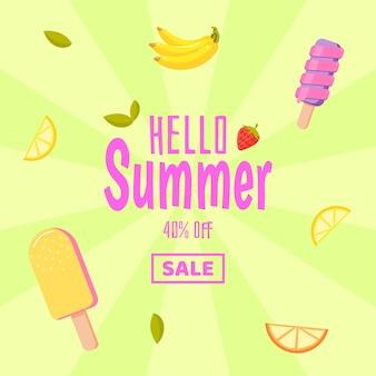 Olá venda de verão. fundo colorido com sorvete e frutas