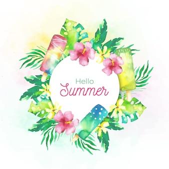 Olá verão aquarela com flores e sorvete