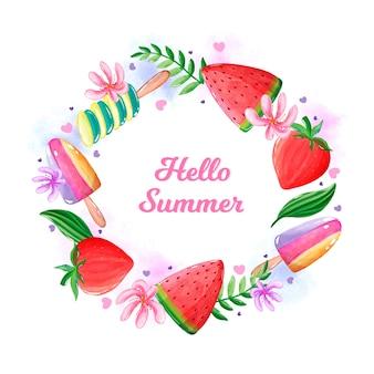 Olá verão aquarela com melancia