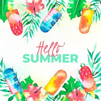 Olá verão aquarela com sorvete e flores