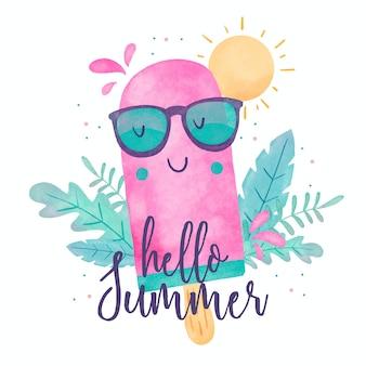 Olá verão aquarela e sorvete