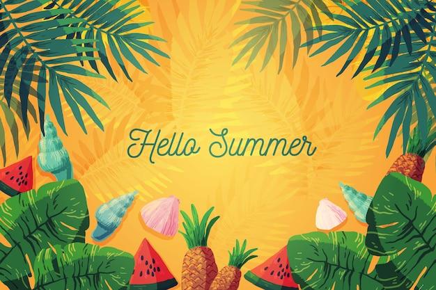 Olá verão aquarela