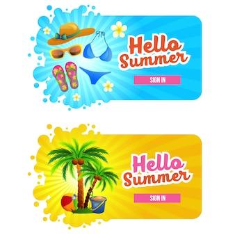 Olá verão assinar botão com tema de férias de praia