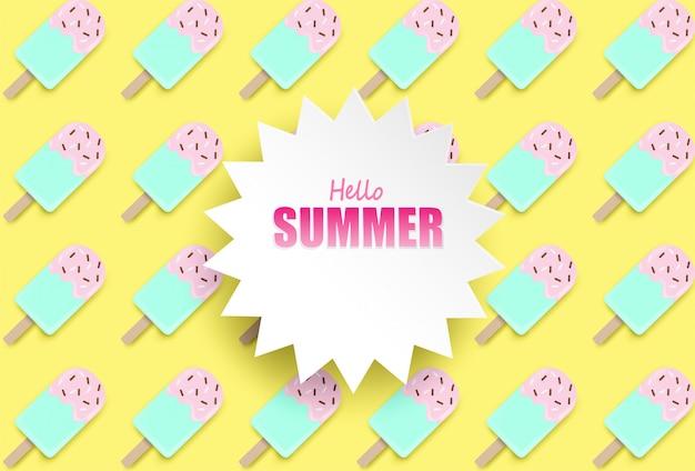 Olá verão background.top vista sorvete no fundo pastel colorido.