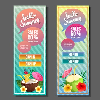 Olá verão banner vertical colorido cocktail beber ilustração vetorial