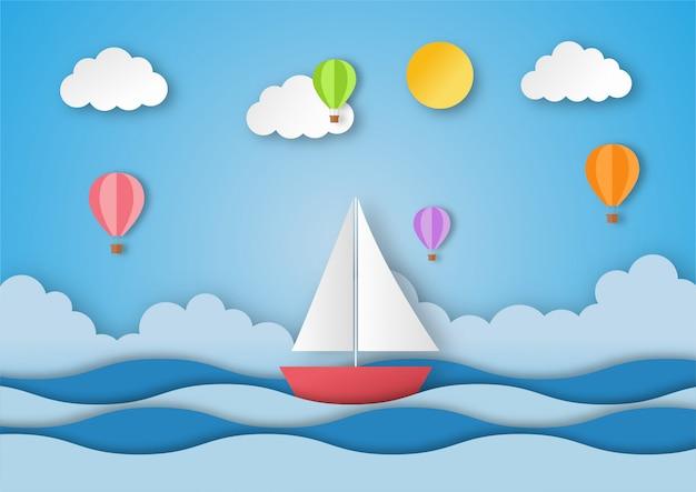 Olá verão. barco com balão. ilustração de paisagem de praia. estilo de arte em papel.